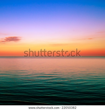 Beautiful sunset above the sea
