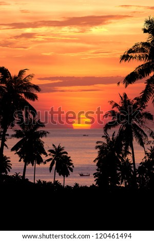 Beautiful sunset above the sea of Thailand
