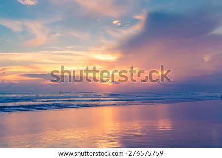 Beautiful sunset above the sea. Summer vacation concept. - stock photo