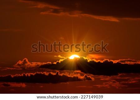 beautiful sunset and clouds. - stock photo