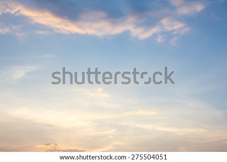 Beautiful sunset and evening sky with clouds for background.