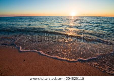 Beautiful sunset and the beach, Okinawa, Japan - stock photo