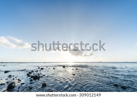 Beautiful sunset and the sea, Okinawa, Japan - stock photo