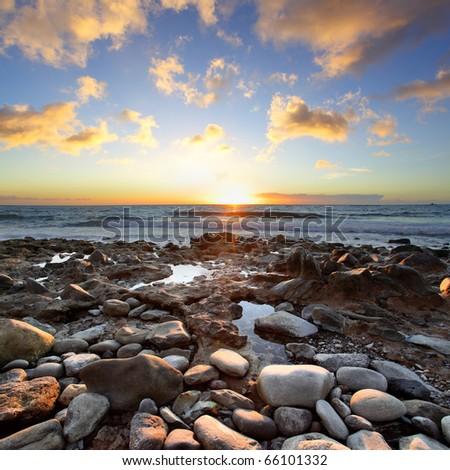 Beautiful sunset at Atlantic Ocean. Tenerife, Canary Islands. - stock photo