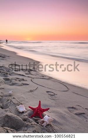 Beautiful sunset at Baltic sea. - stock photo