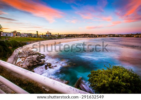 Beautiful sunset at Bondi beach, Sydney, Australia. - stock photo