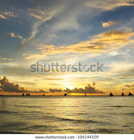 Beautiful sunset at Boracay, Philippines - stock photo