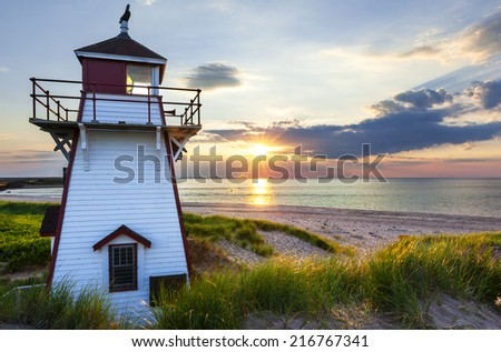 Beautiful sunset at Covehead Harbour lighthouse, Prince Edward Island, Canada - stock photo