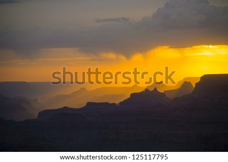 beautiful sunset at desert view point in the Great Canyon - stock photo