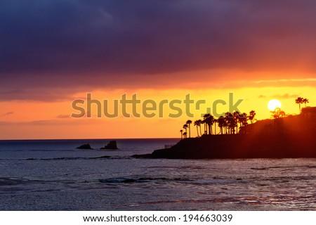 Beautiful Sunset at Laguna Beach, California. - stock photo
