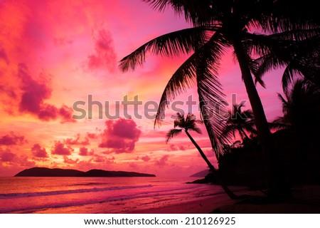 beautiful sunset at Langkawi Island, Malaysia - stock photo