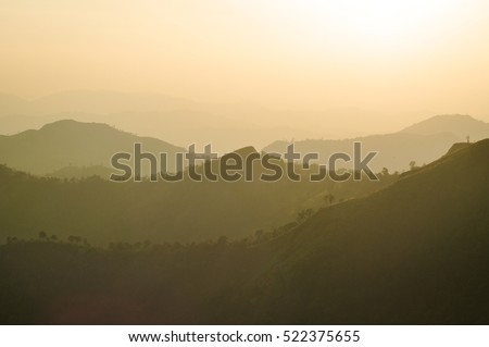 beautiful sunset at mountain in the east of thailand