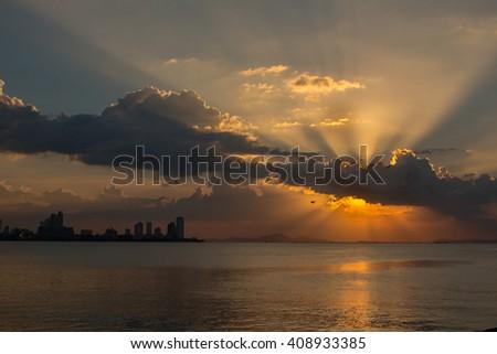 Beautiful sunset at Pattaya Thailand. - stock photo