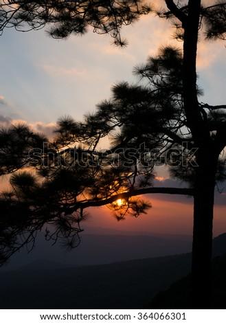 Beautiful sunset at Phu Kradueng national park, Loei, Thailand - stock photo