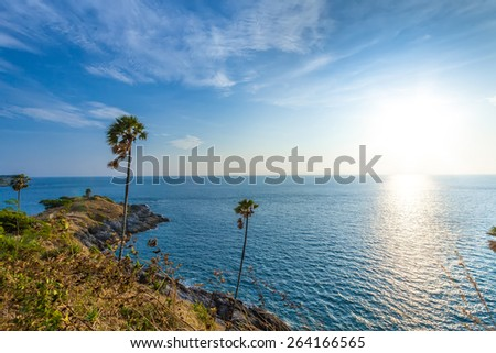 beautiful sunset at phuket thailand - stock photo