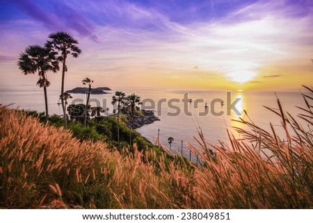 Beautiful sunset at Promthep cape view point, Phuket, Thailand - stock photo