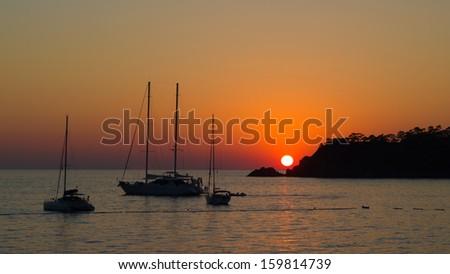 Beautiful sunset at sea - stock photo