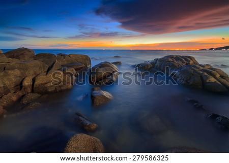 Beautiful Sunset at sea Thailand. - stock photo