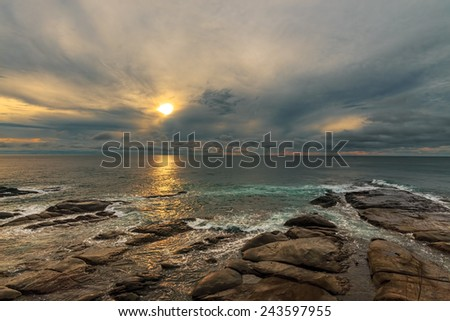 Beautiful sunset at Simpang Mengayau, Sabah, Malaysia. - stock photo