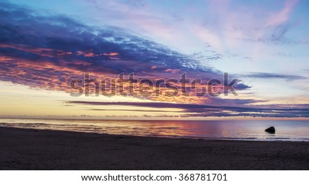 Beautiful Sunset At The Beach On The Baltic Sea. - stock photo