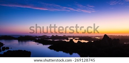 Beautiful sunset at the coast in South Africa - stock photo