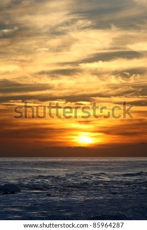 Beautiful sunset at the coast off of South Africa - stock photo