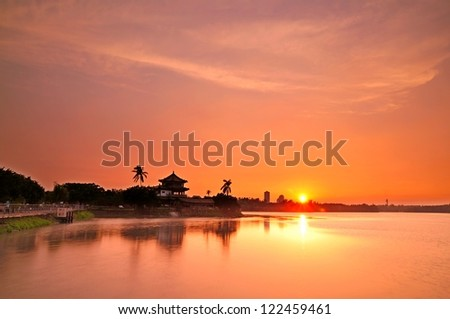 Beautiful sunset at the lake in Kaohsiung - stock photo
