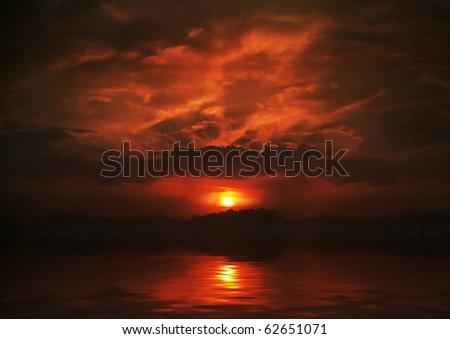 Beautiful sunset at the sea - stock photo