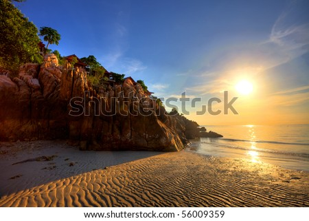 Beautiful sunset at tropical beach. Thailand - stock photo