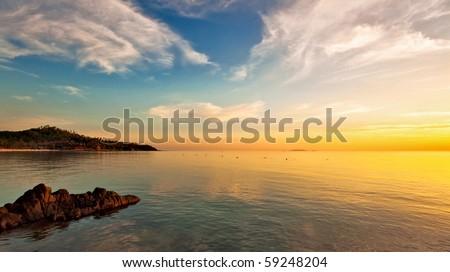 Beautiful sunset at tropical beach. Thailand - stock photo