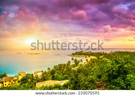 Beautiful sunset. Beach in Unawatuna, Sri-Lanka - stock photo