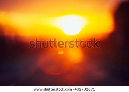 Beautiful sunset, blurred abstract image - stock photo