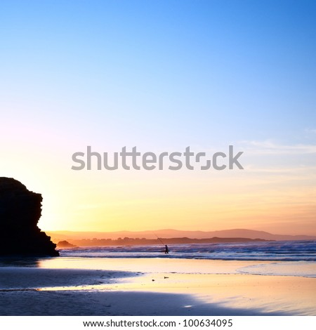 Beautiful sunset by the ocean in Galicia, Spain - stock photo