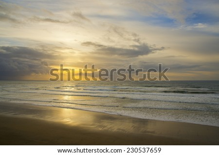 Beautiful sunset, calm ocean along the northern Oregon coast, Pacific Ocean - stock photo
