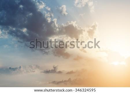 Beautiful sunset clouds - stock photo