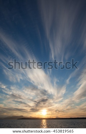 Beautiful sunset cloudscape in Alaska, portrait