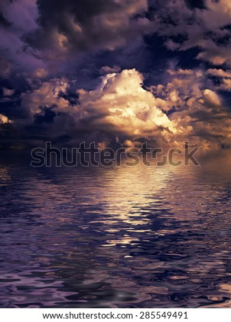 beautiful sunset cloudscape over the water - stock photo