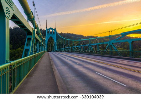Beautiful Sunset Image of Saint John's Bridge in Portland, Oregon - stock photo