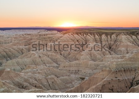 Beautiful sunset in Badlands National Park in South Dakota, USA