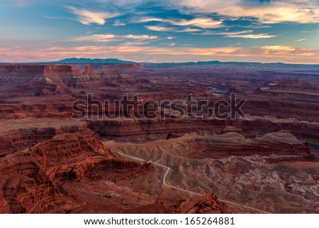 Beautiful Sunset in Dead Horse State Park, Utah - stock photo
