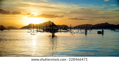 Beautiful Sunset in El Nido in the Palawan Island in the Philippines. - stock photo