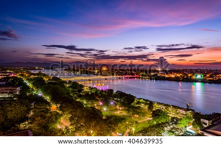 Beautiful sunset in Huong River, and Trang Tien Bridge is the most beautiful bridge in Hue in Vietnam Huong River and Trang Tien Bridge in Hue city, Vietnam Unesco World Heritage Site