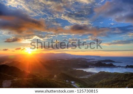 Beautiful Sunset in Jiufen, Taiwan - stock photo