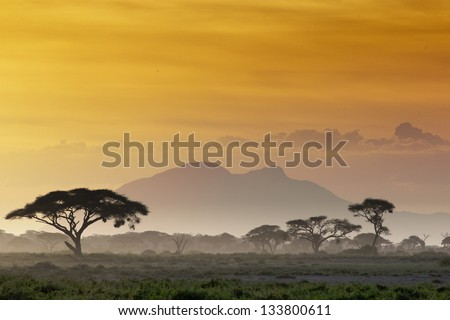 Beautiful sunset in Kenya 03 - stock photo