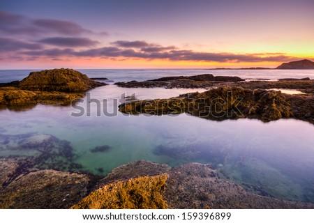 Beautiful sunset in Laguna Beach, California - stock photo