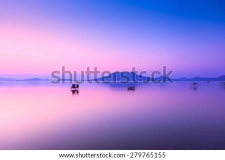Beautiful sunset in lake Balaton-Hungary.Minimal  color style - stock photo