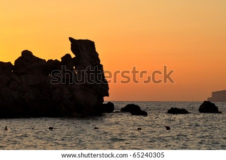 beautiful sunset in Malta - stock photo