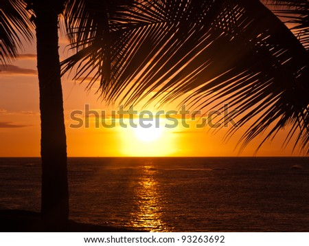 Beautiful Sunset in Maui with lots of Copy Space - stock photo