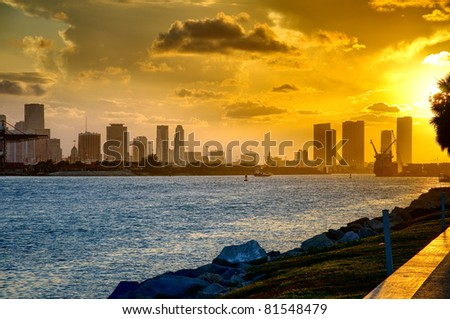 Beautiful sunset in Miami Beach - stock photo
