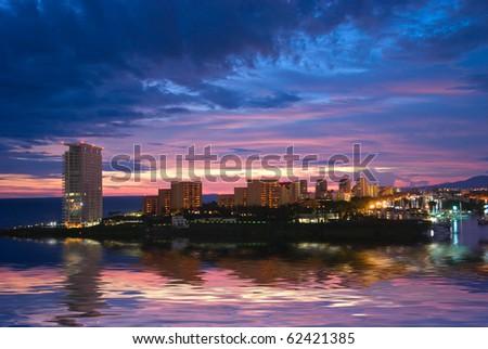 Beautiful sunset in Puerto Vallarta, Mexico - stock photo